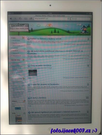 pohled na zobrazeni meho blogu na aplle ipad 2