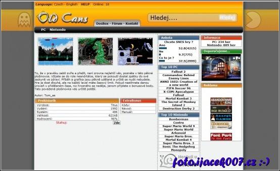 webová stránka s dos hrou prehistorik